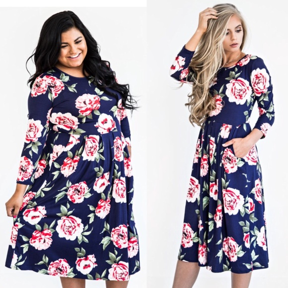 🆕➕Navy Bailey Rose Midi Jessie Kae Dress Boutique